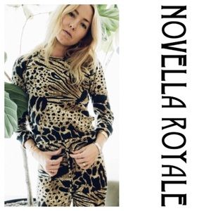 Novella Royale Animal Print Crop Sweatpants (S)